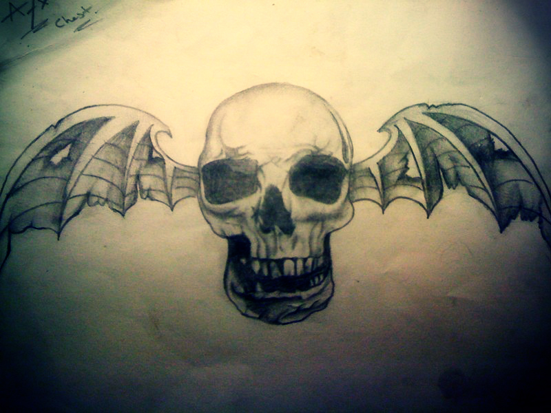 avenged sevenfold deathbat chest drawing by t3h4ndy on deviantart. Black Bedroom Furniture Sets. Home Design Ideas