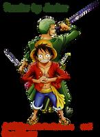 Luffy and  Zoro Render by ArtOfArcher