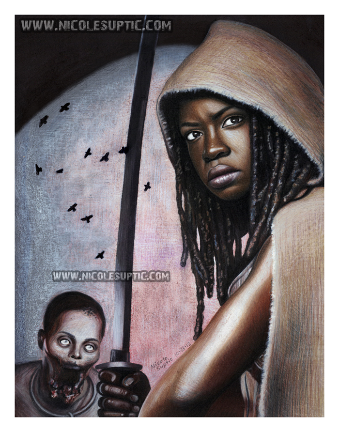 Michonne - The Walking Dead drawing by xnicoley