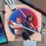 Star Wars: KYLO REN + REY Colored Pencil Drawing