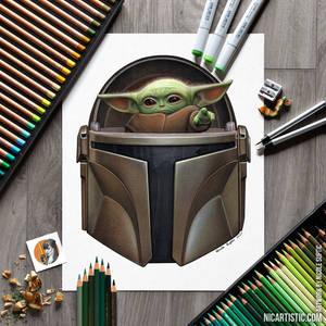Baby Yoda + Mandalorian: Colored Pencil Drawing