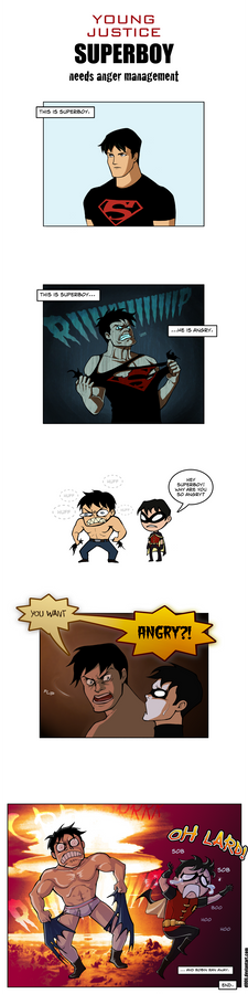 young justice superboy angry