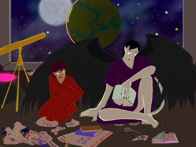 Morti and 'Theus For da BTWimamermaidd by Ahtilak