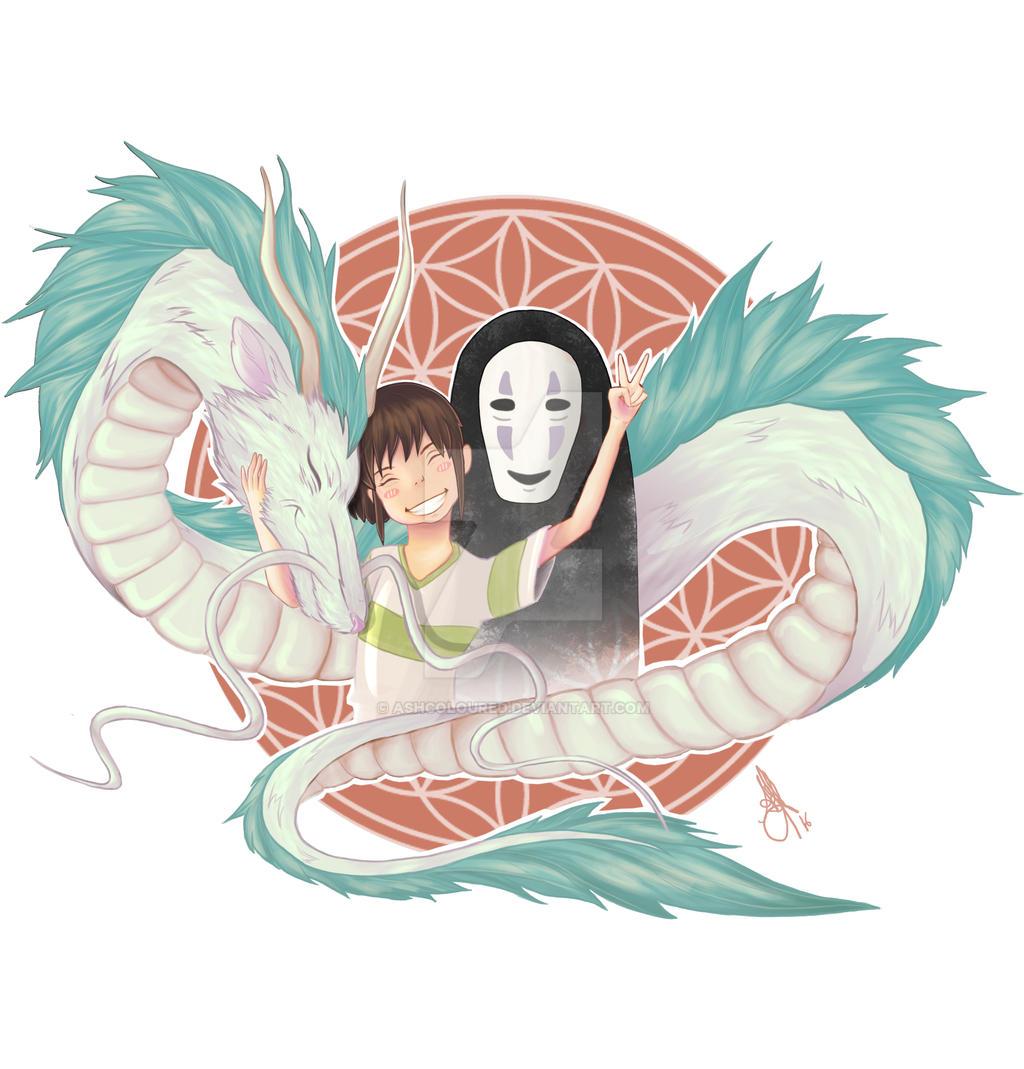 spirited away haku chihiro and noface by ashcoloured