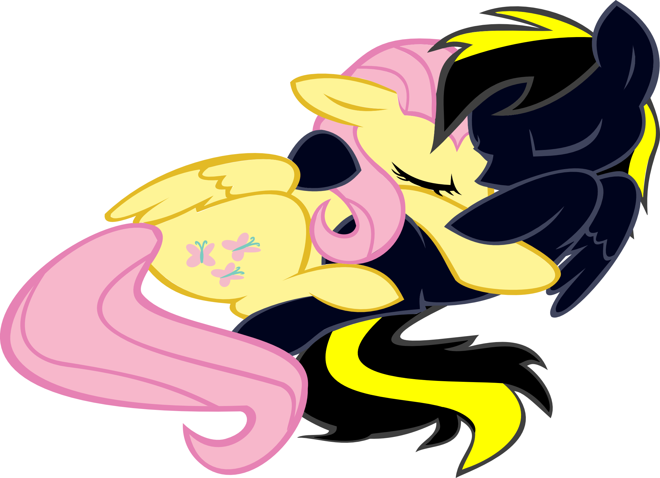 Thunder Bolt and Fluttershy cuddle by Fluttair