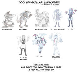 100 Ten-Dollar Sketches by MichaelJRuocco