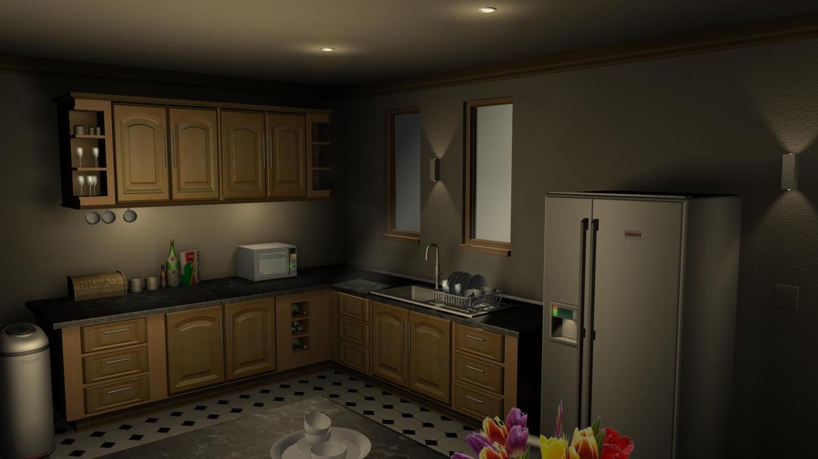 3ds max kitchen render 01 by hercool on deviantart for Kitchen set 3ds max