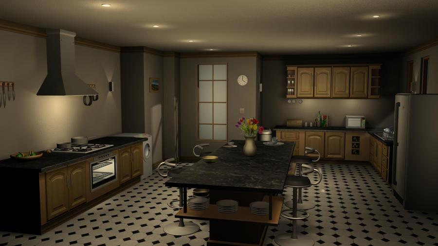 3ds max kitchen render 02 by hercool on deviantart for Kitchen set 3ds max