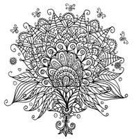 Flower Bud Line Art Doodle by WelshPixie