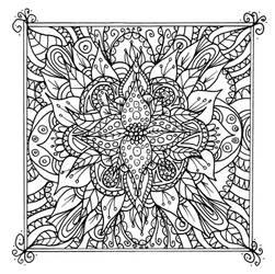 Framed Flower Line Art Doodle by WelshPixie