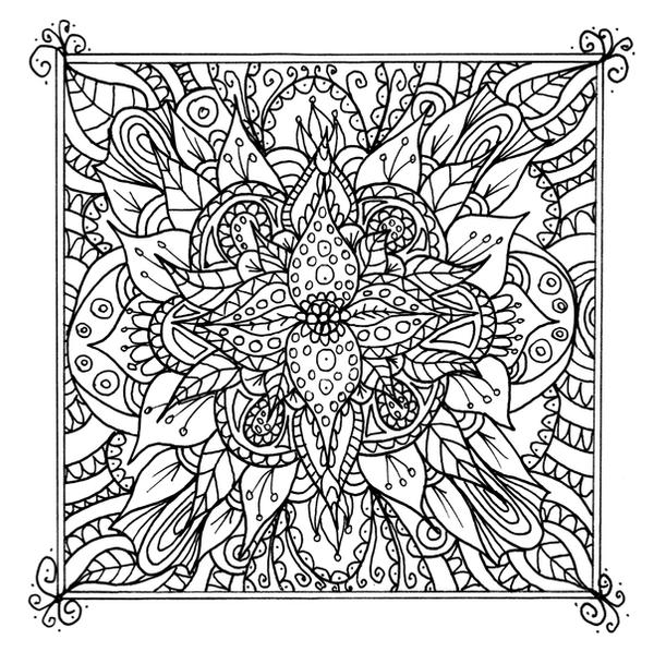 Line Art Doodles : Framed flower line art doodle by welshpixie on deviantart