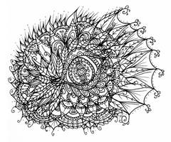 Dragon Eye Line Art Doodle by WelshPixie
