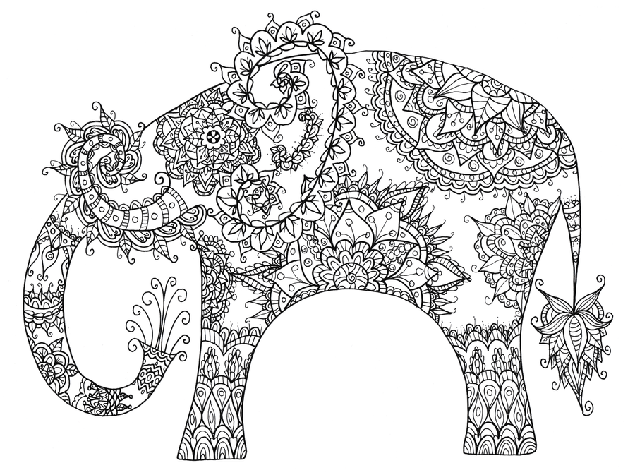 Cute Elephant Canvas Coloring Page