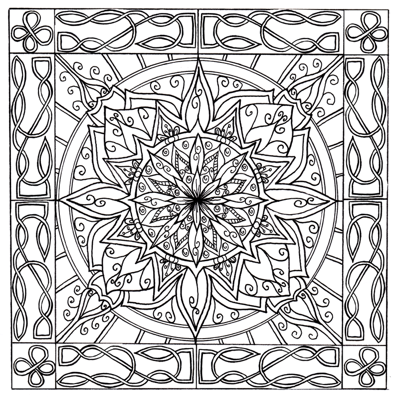 Celtic knotwork border mandala by welshpixie on deviantart for Celtic knot mandala coloring page