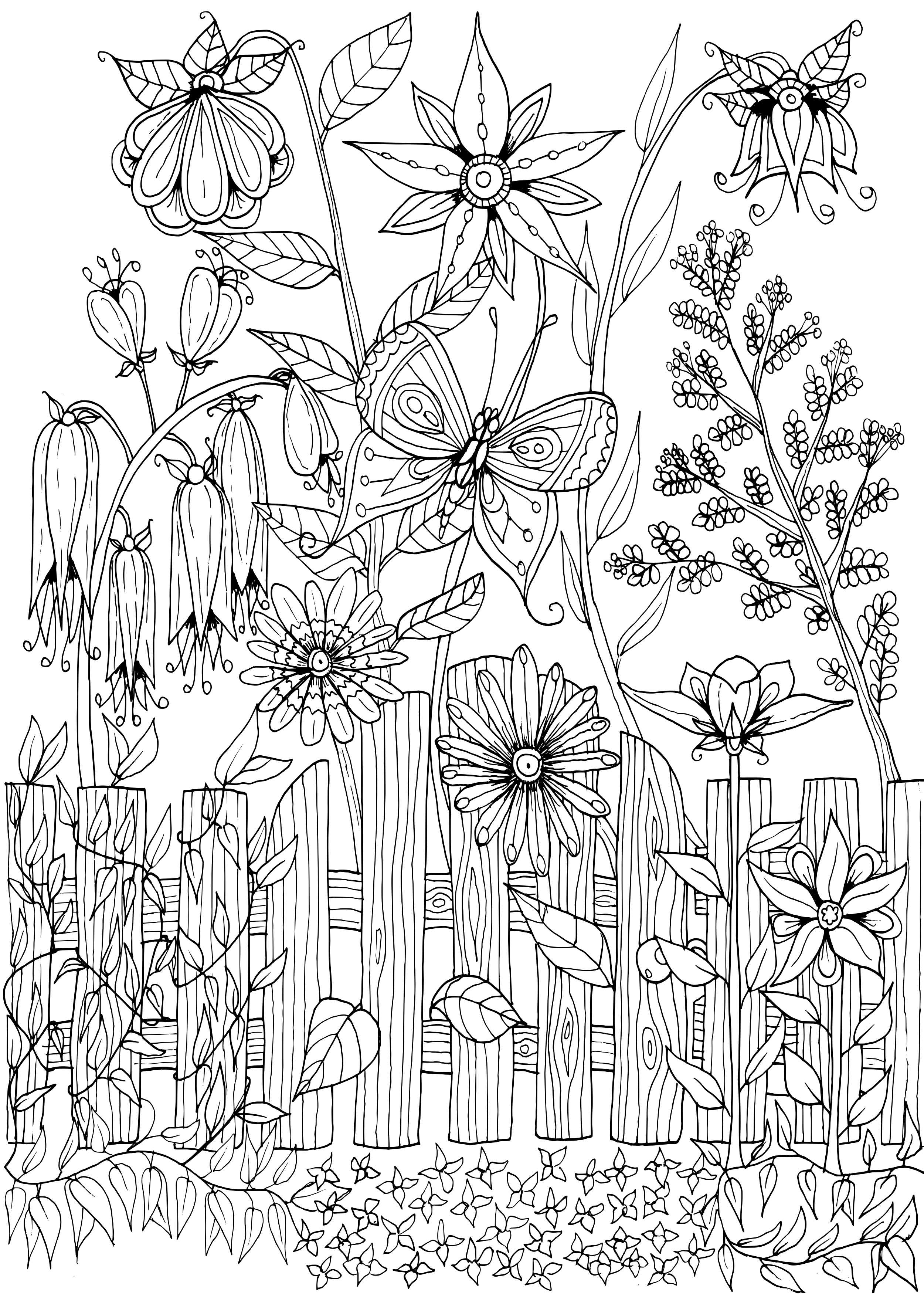 Flower garden coloring pages printable ~ Garden Gate Doodle by WelshPixie on DeviantArt