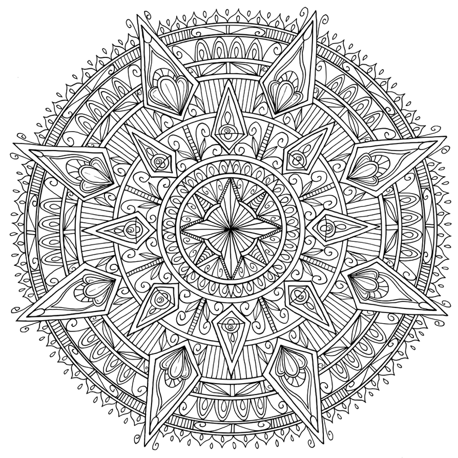 Diamonds mandala by welshpixie on deviantart for Mandala coloring pages for adults printable