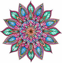 Finished Colouring - Floral Mandala by WelshPixie