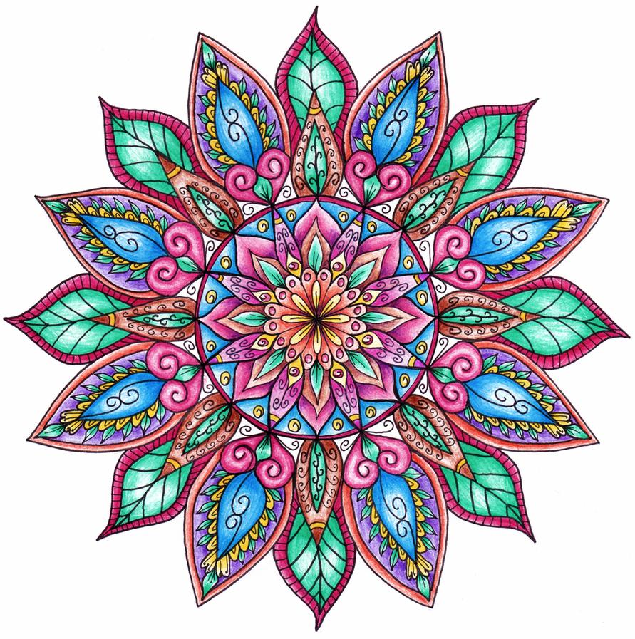 Finished Colouring Floral Mandala By WelshPixie On DeviantArt