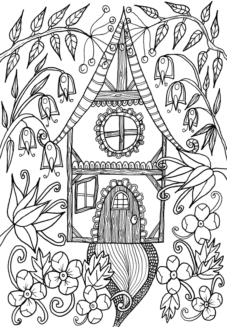 Little house by welshpixie on deviantart for Fairy house coloring pages