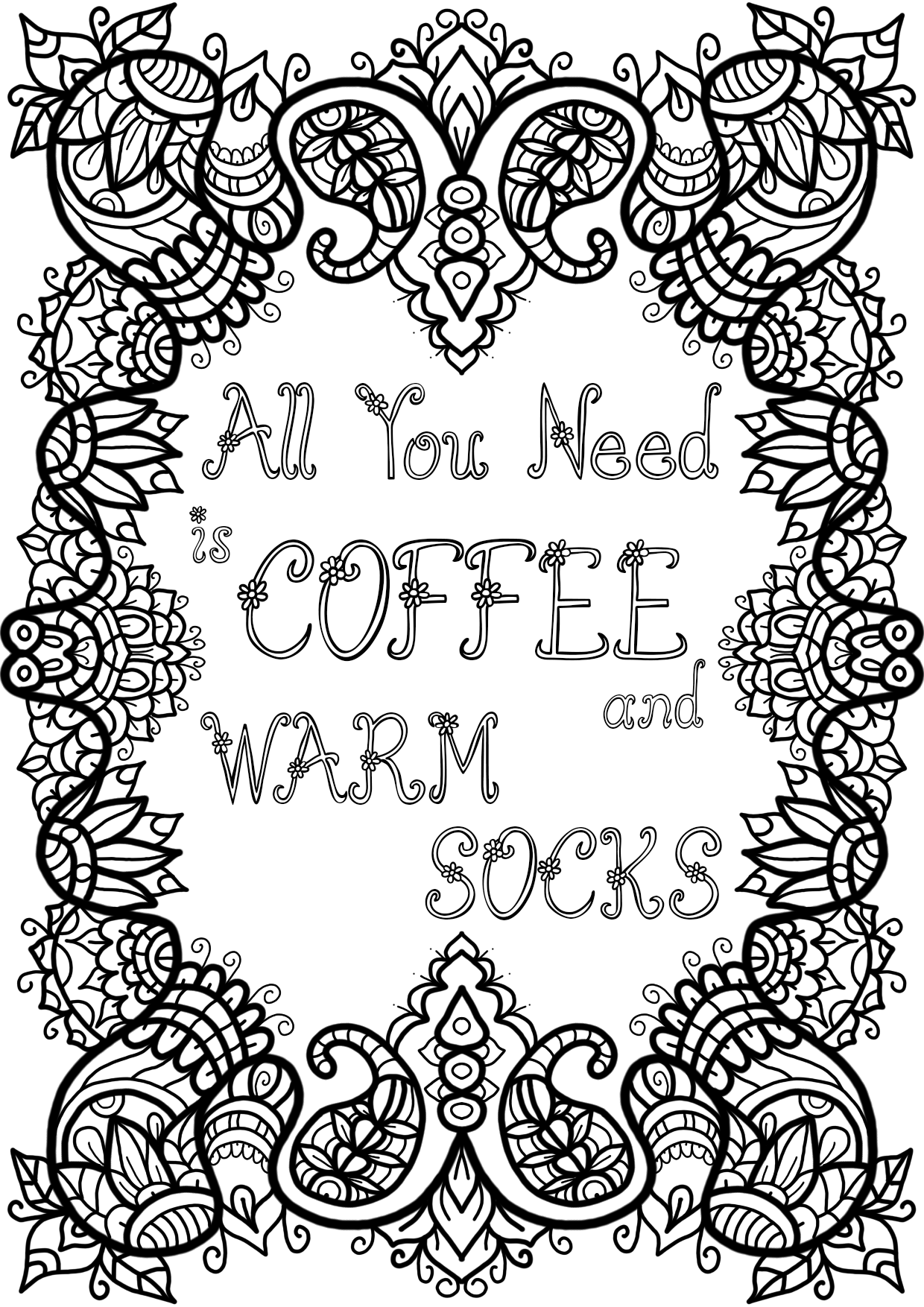 Free Colouring Page - Coffee and Warm Socks by WelshPixie ...