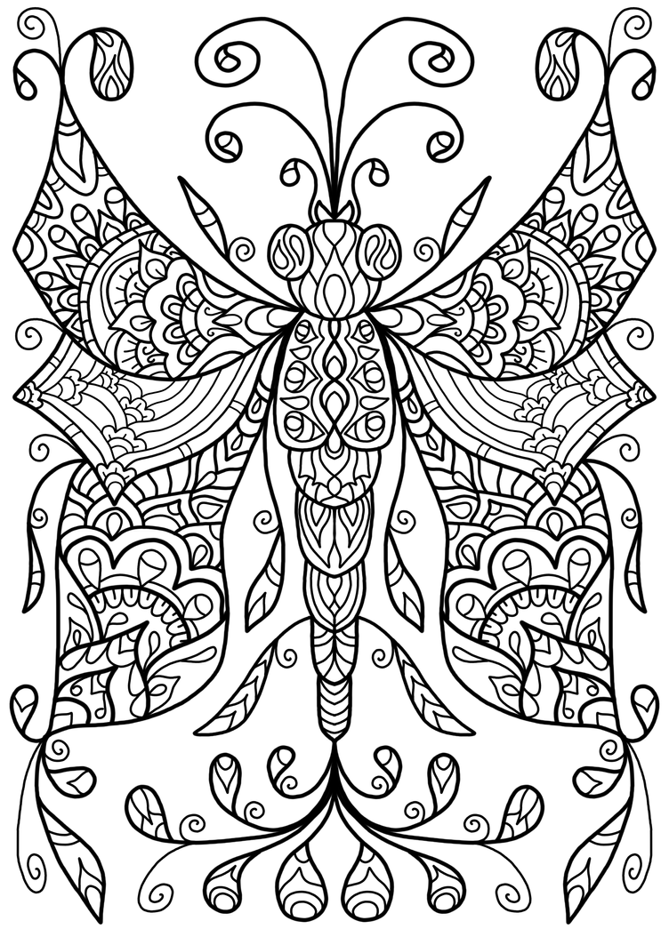 Free colouring page dragonfly thing by welshpixie on for Free coloring pages for adults with dementia