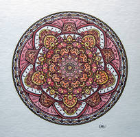 Small Red/Brown Watercolour Mandala by WelshPixie