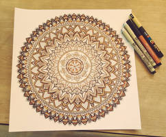 Hand-Drawn Gold, Sepia and Sanguine Mandala by WelshPixie