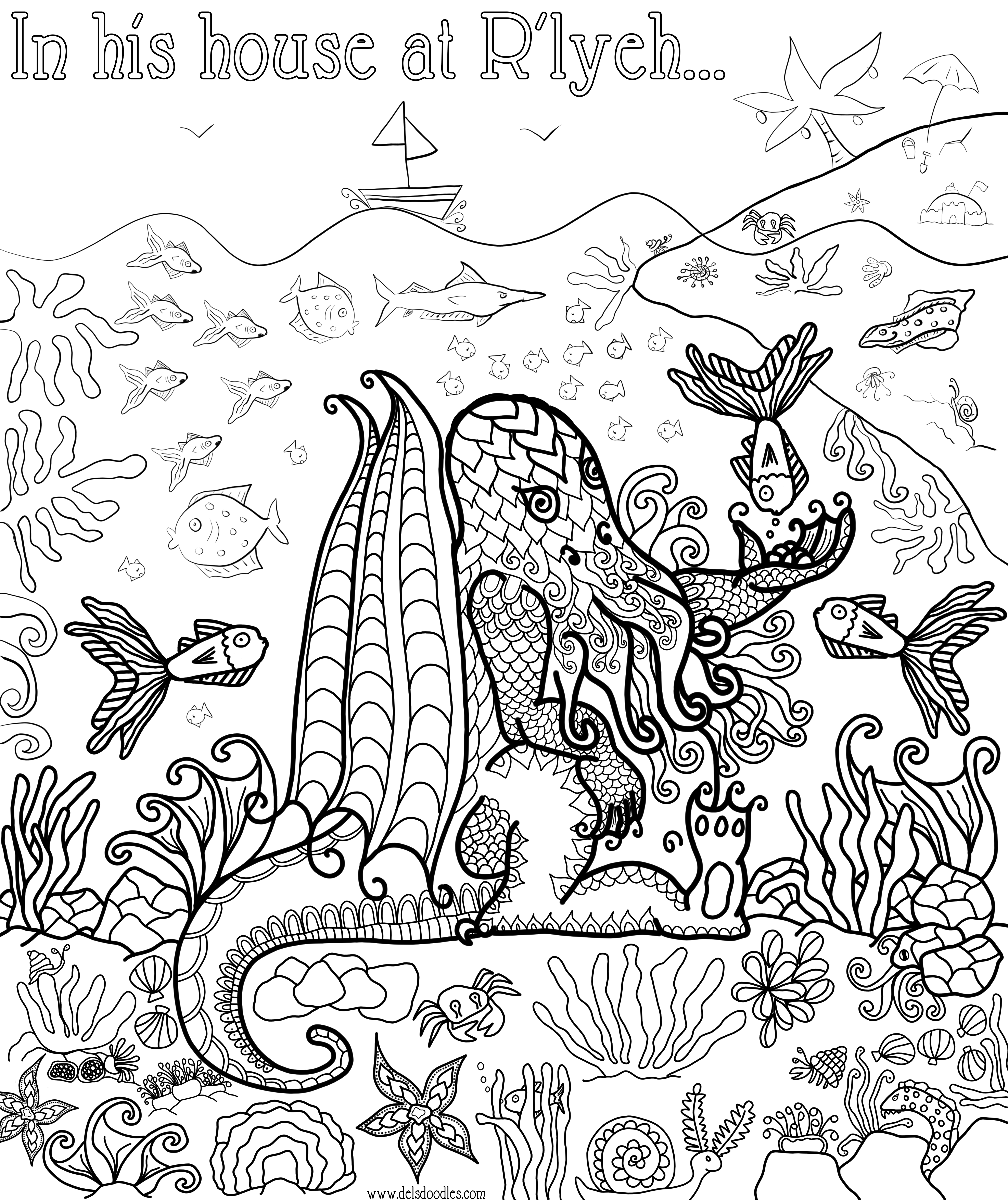 Cthulhu colouring page for Cthulhu coloring pages