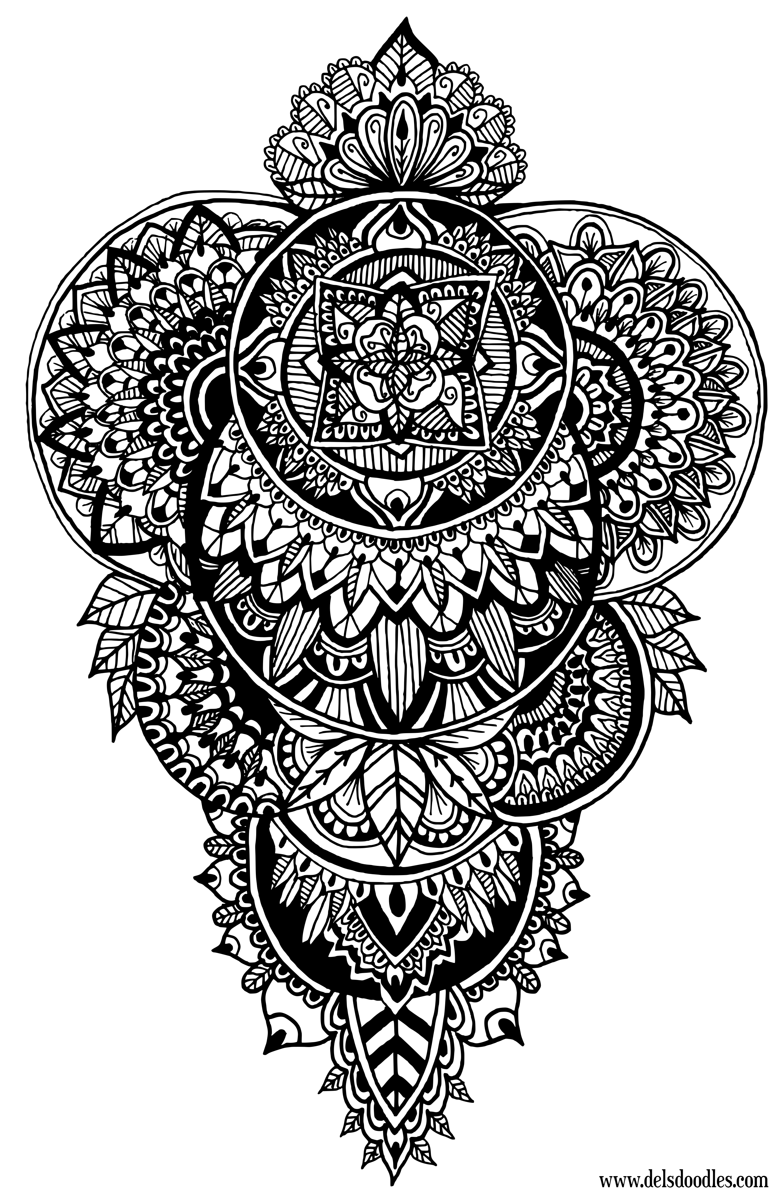 Coloring pages yin yang - Disks Doodle Colouring Page By Welshpixie
