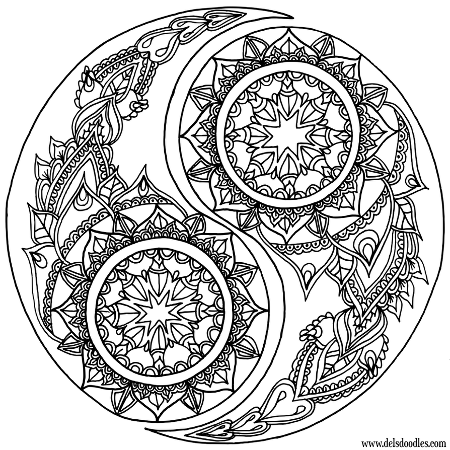 Coloring pages yin yang - Yin Yang Coloring Page By Welshpixie