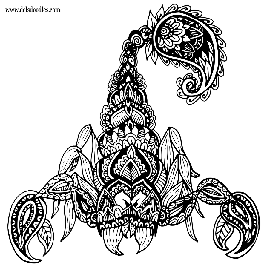 Scorpion by welshpixie on deviantart for Scorpion coloring page