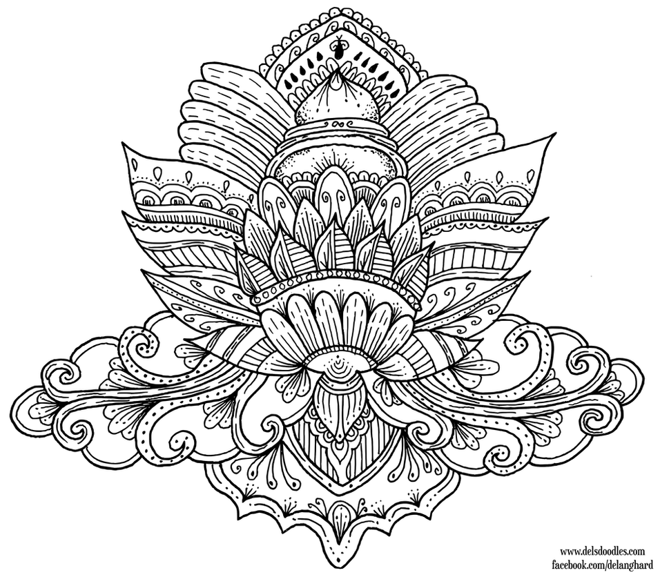 Lotus colouring page by welshpixie on deviantart Yoga coloring book for adults