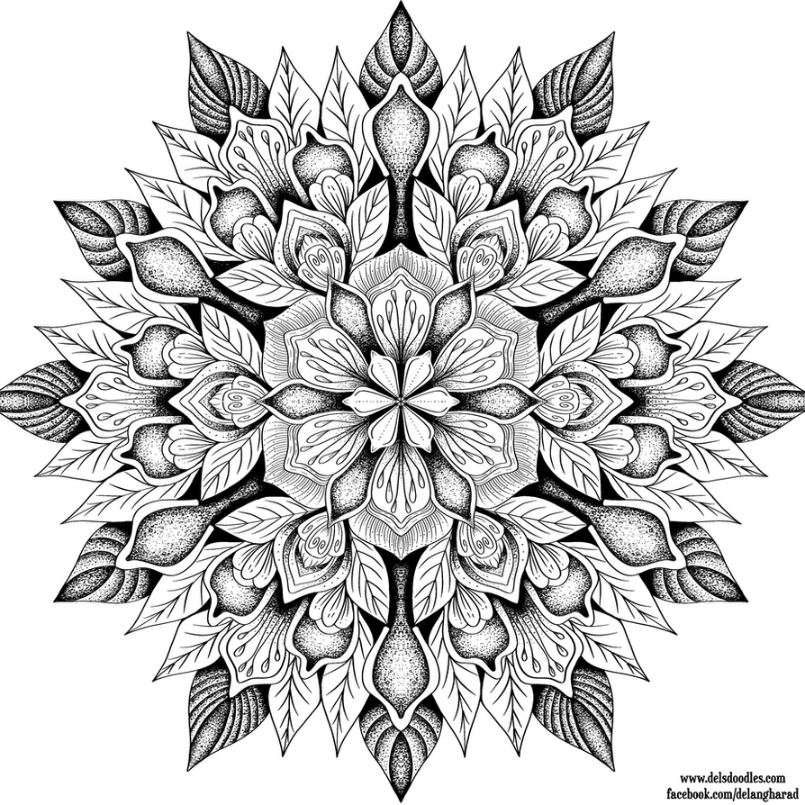intricate flower coloring pages - stippledala by welshpixie on deviantart