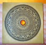 Hand-Drawn Mandala with Amber Gemstone