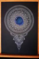 White mandala blue gemstone by WelshPixie