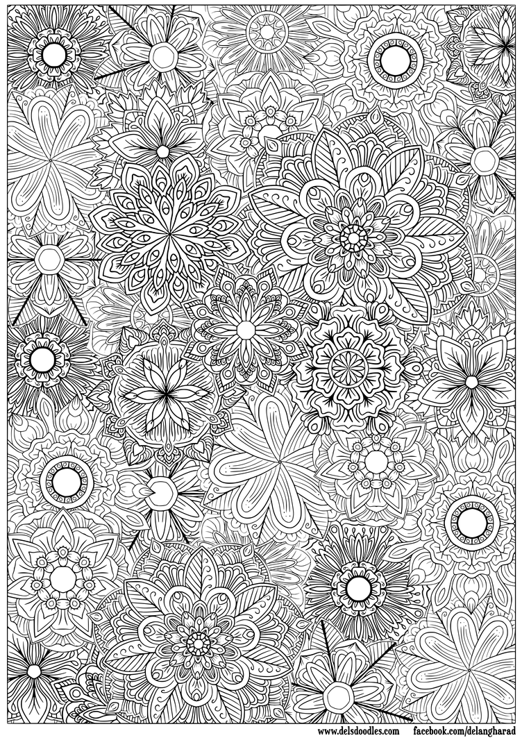 flower detailed coloring pages - photo#25
