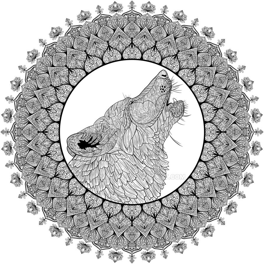 Wolf mandala coloring pages - Howling Wolf Mandala By Welshpixie