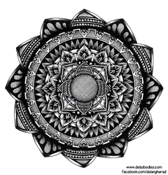 Hand-drawn hatching mandala