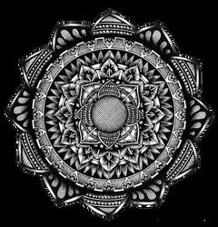 Hand-drawn hatching mandala by WelshPixie