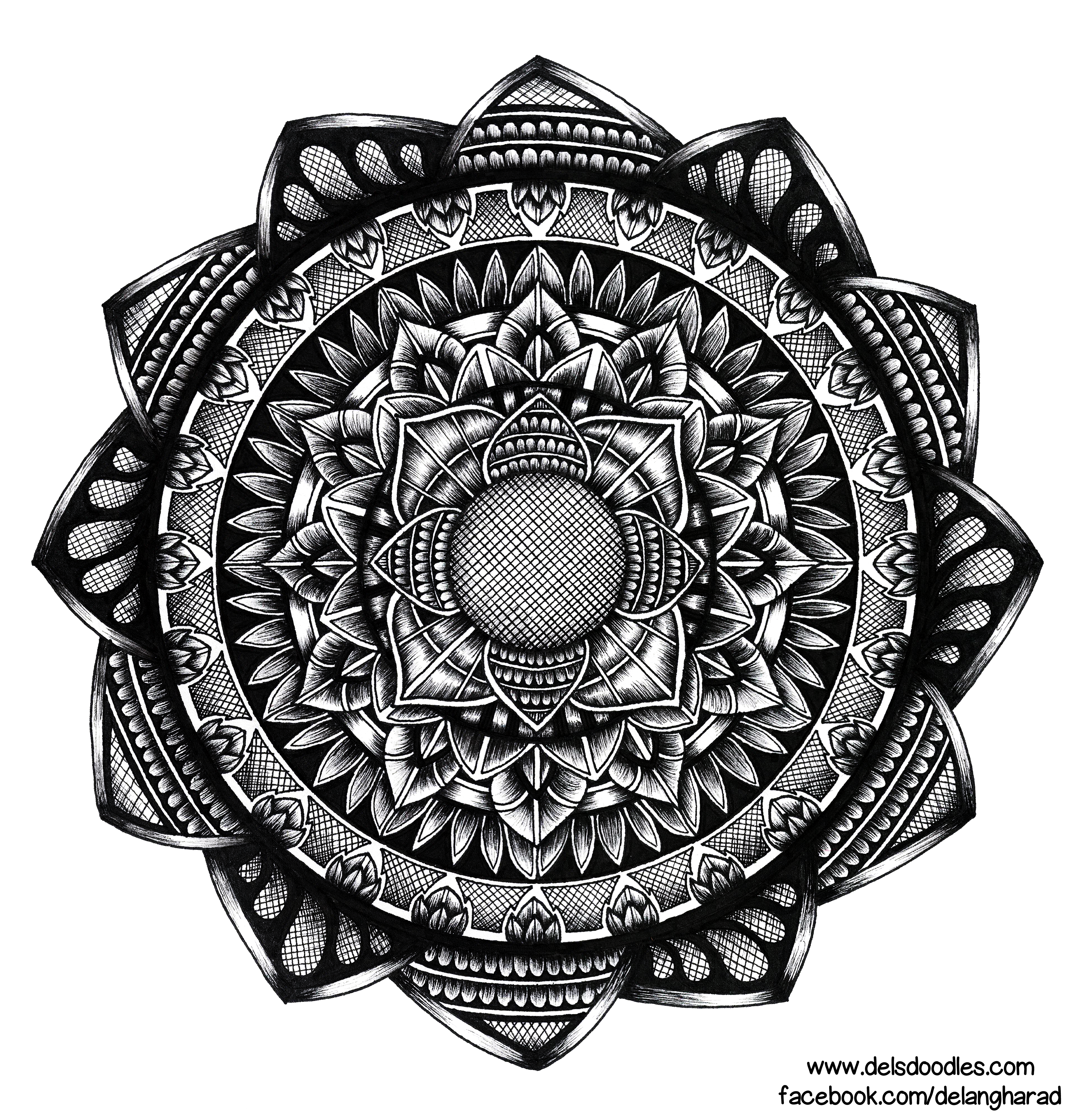 Hand-drawn hatching mandala by WelshPixie