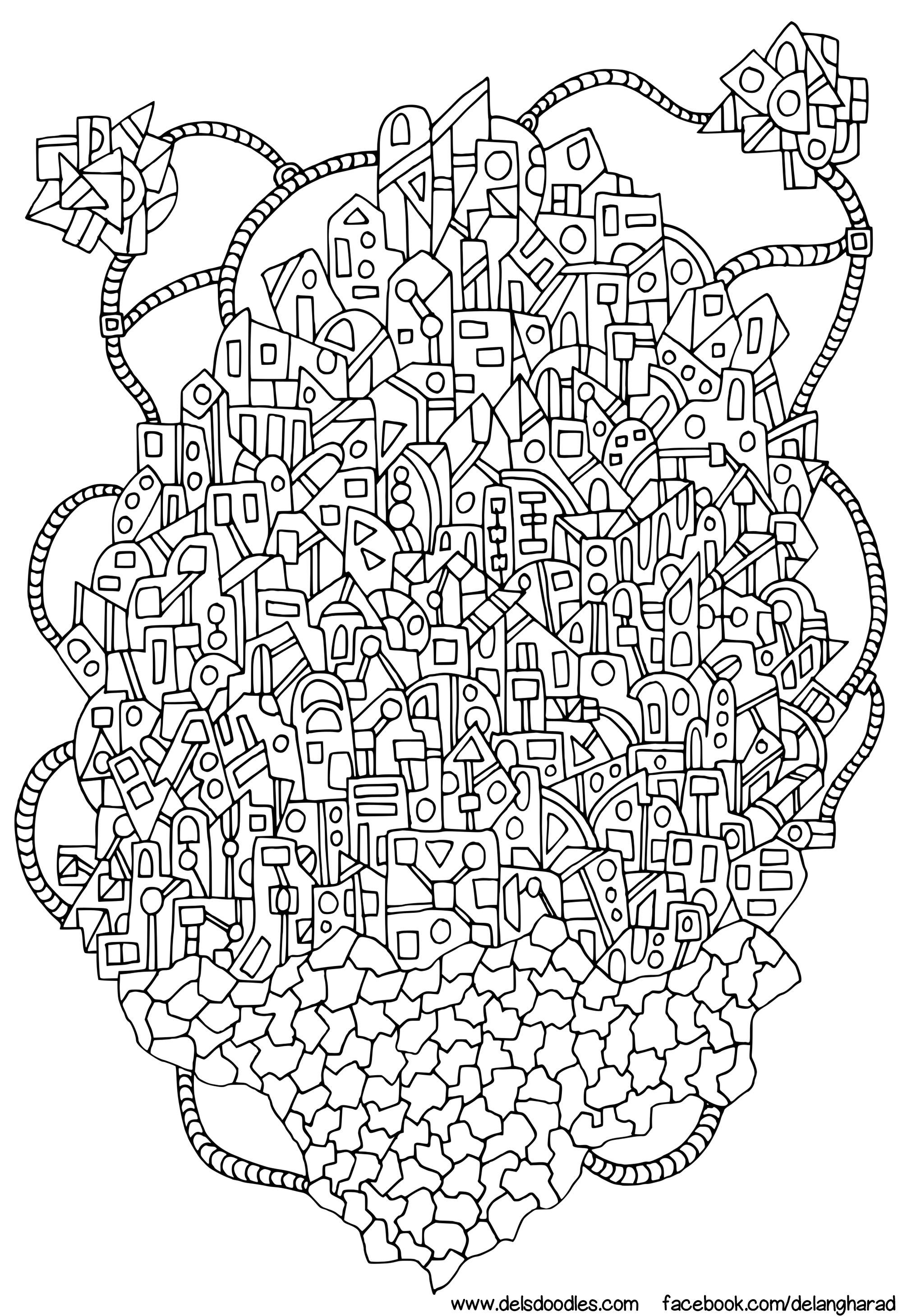 Floating City Colouring Page