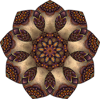 Purple, Orange and Stone Coloured Mandala