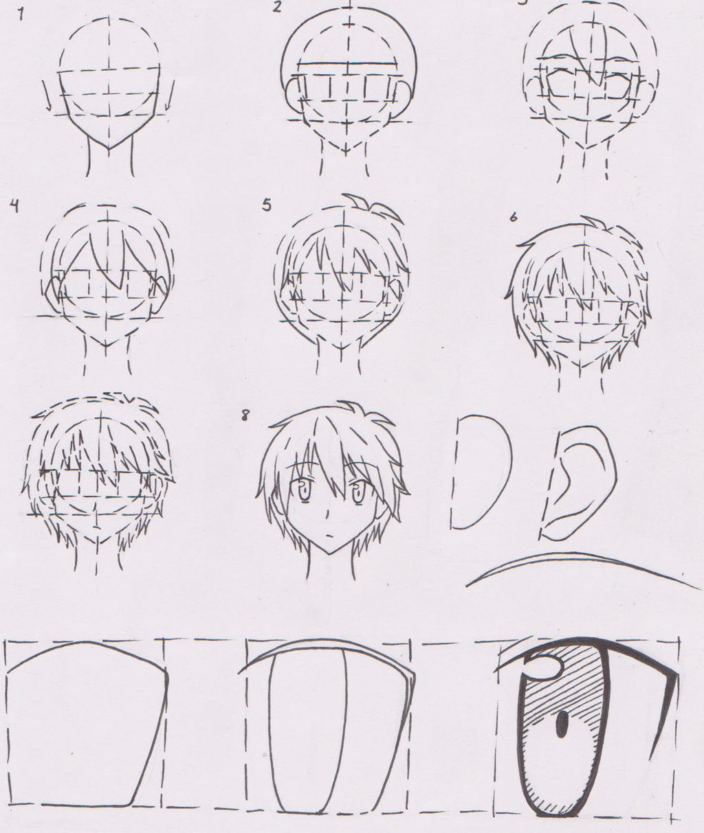 anime boy character face tutorial 01 sorata by futagofude 2insroid