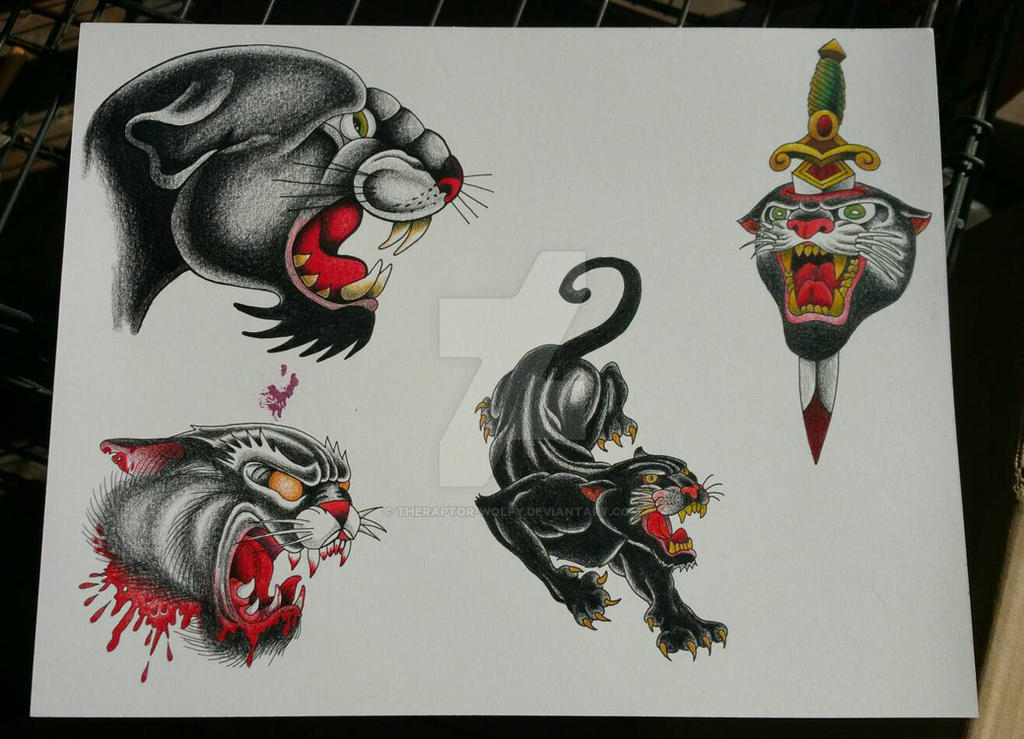 panther tattoo flash sheet #1 by TheRaptor-Wolfy
