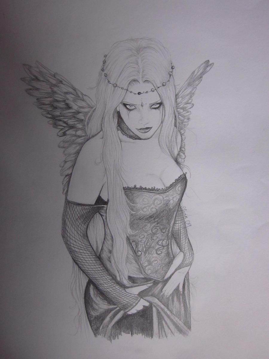 Dark Angel by NightsQueen on DeviantArt Angel Drawings In Pencil