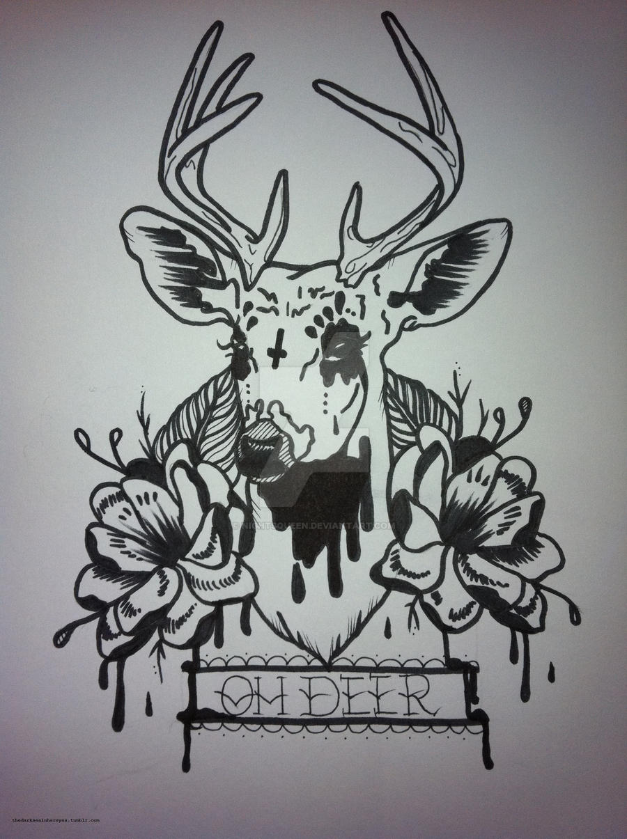 Oh Deer Tattoo Flash by Traditional Deer Tattoo Drawing