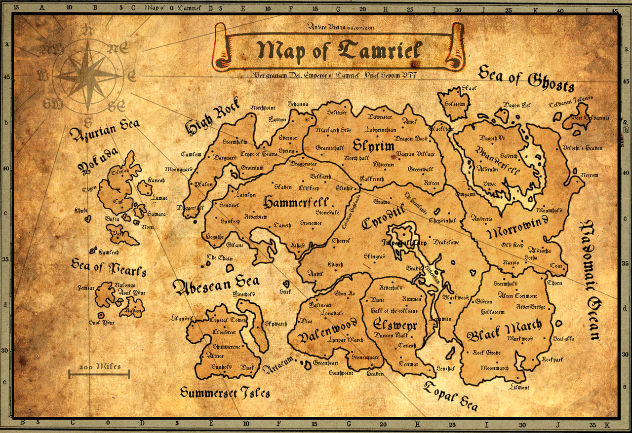X Post From R Skyrim Made This Map Of Tamriel For My Boyfriend S