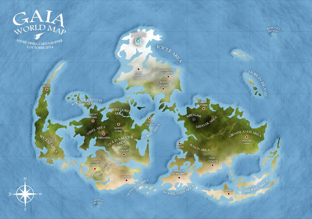 GAIA WORLD MAP - Final Fantasy VII by AndrewScrolls on DeviantArt