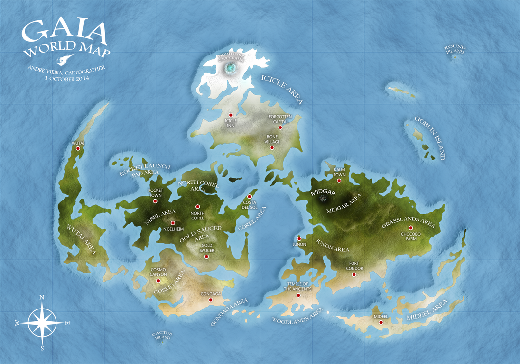 GAIA WORLD MAP - Final Fantasy VII by AndrewScrolls on DeviantArt