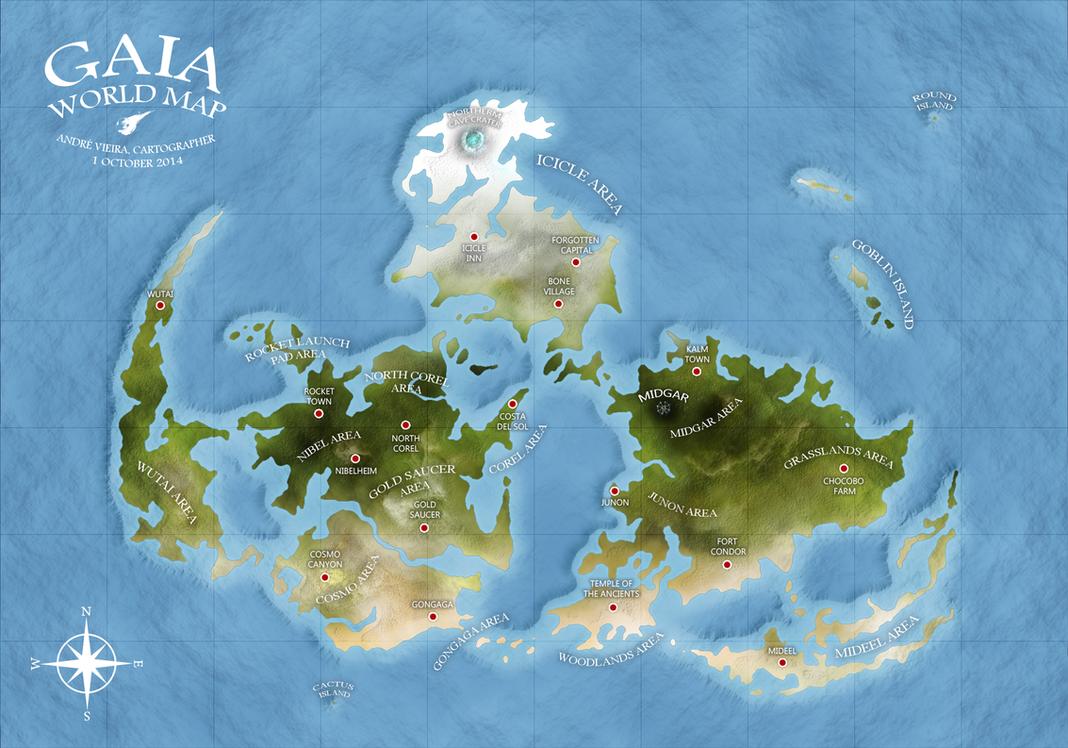 GAIA WORLD MAP Final Fantasy VII by AndrewScrolls on DeviantArt
